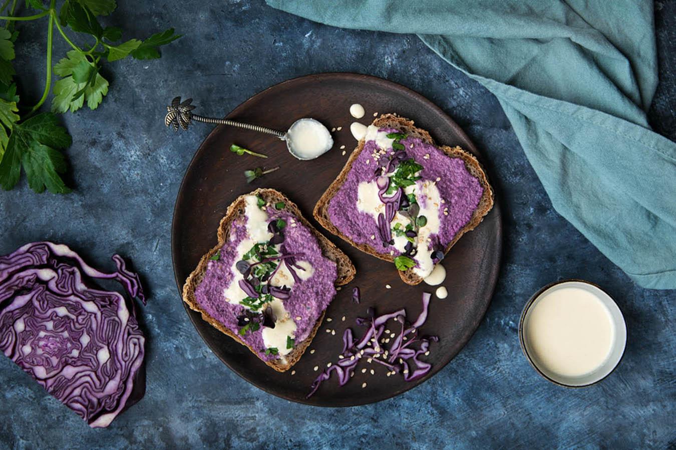 veganer hummus rotkohl